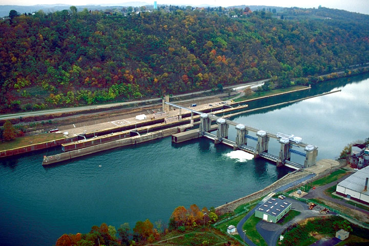 Aerial view of Locks & Dam 4, Monongahela River
