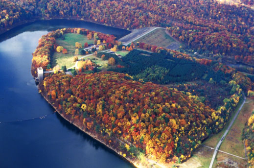 Aerial view of Tionesta Lake and dam