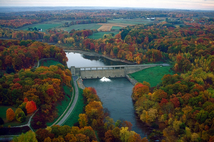 Aerial view of Shenango River Lake and dam