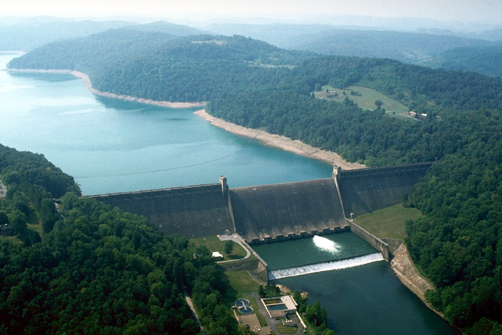 Aerial view of Tygart Lake and dam