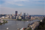 The Point and beautiful river scape in Pittsburgh is created by the Emsworth Locks and Dams at mile 6.2, Ohio River.