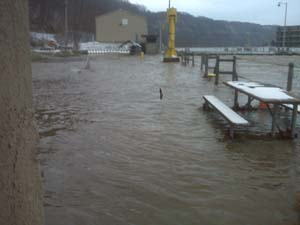 A lock on the Allegheny River is closed due to flood waters in 2010.