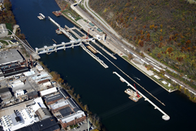 Aerial view of Lock and Dam 4, Monongahela River, Charleroi, Pa