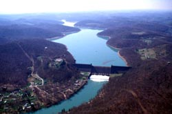 Aerial view of Tygart Lake & Dam