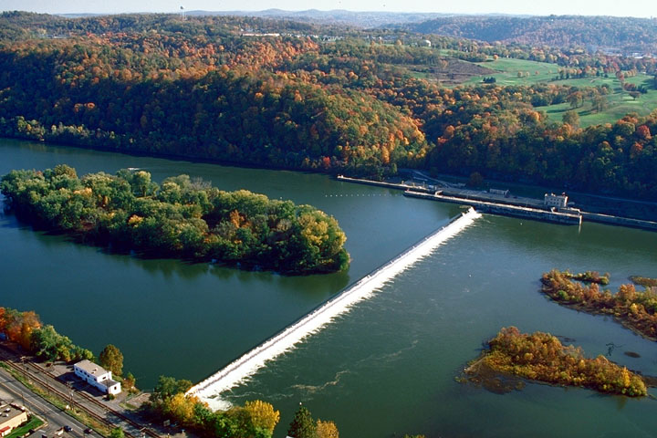Aerial view of CW Bill Young Lock & Dam, Allegheny River