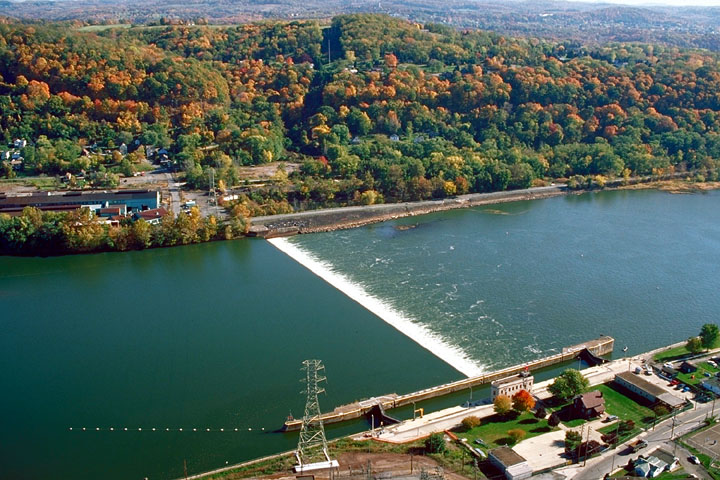 Aerial view of Lock & Dam 4, Allegheny River