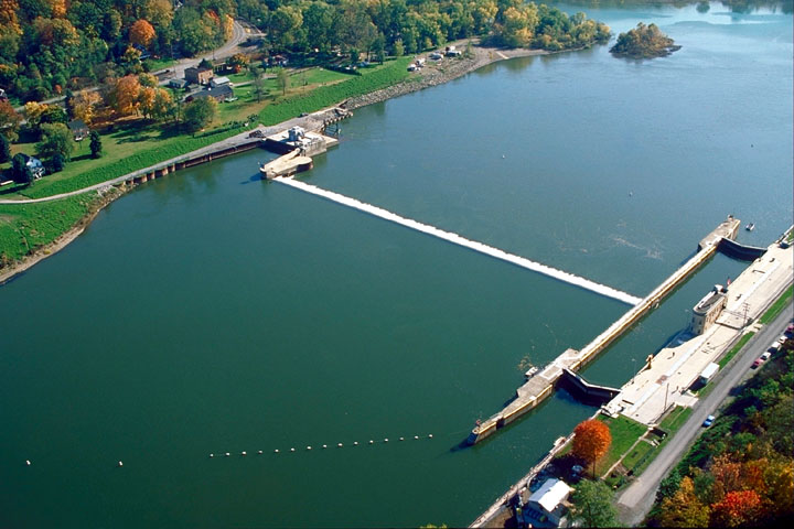 Aerial view of Lock & Dam 5, Allegheny River