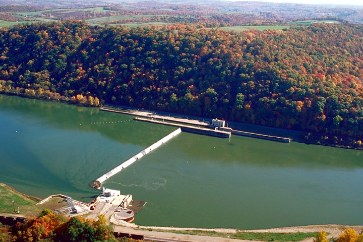 Aerial view of Lock & Dam 8, Allegheny River