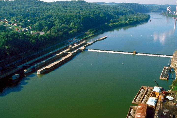 Aerial View of Lock 3, Mon River