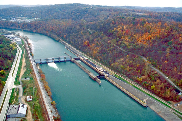 Aerial view of Morgantown Lock and Dam