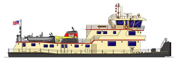 Illustration of Corps' Service Barge 101, M/V Evanick