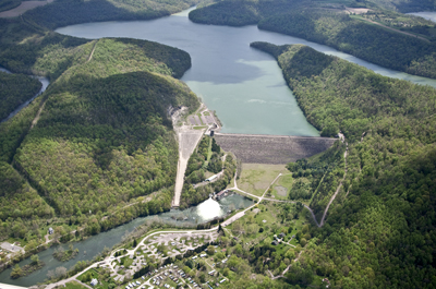 Aerial view of Youghiogheny River Lake and dam