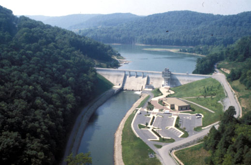 Aerial view of Stonewall Jackson Lake and dam