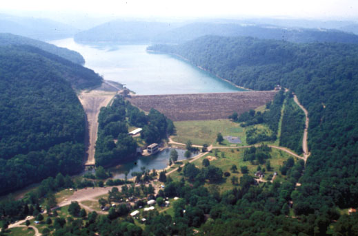 Aerial view of Youghiogheny River Lake