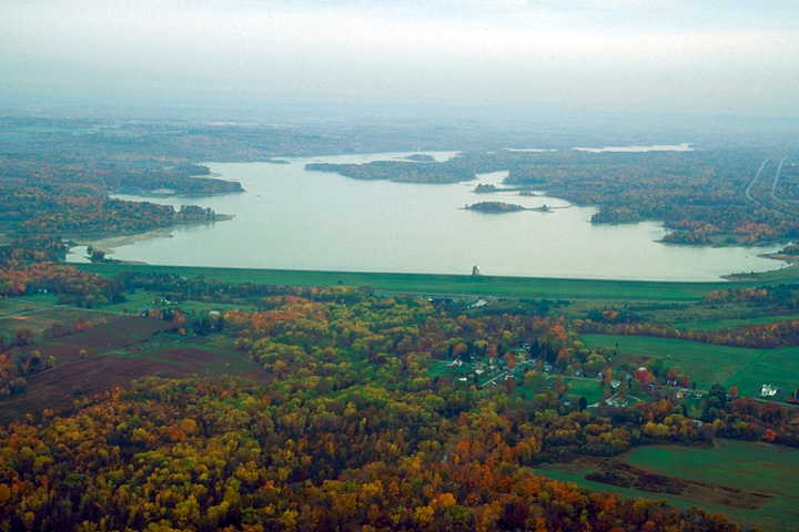 Aerial view of Michael J. Kirwan Dam & Reservoir