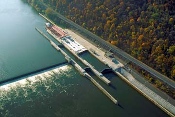 Aerial view of an Upper Ohio River Lock