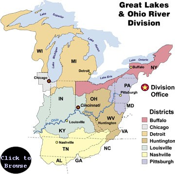 Map of Great Lakes and Ohio River Division